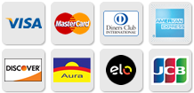 Visa, Mastercard, American Express, Diners, Discover, JCB, ELO, Aura
